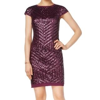 Vince Camuto NEW Purple Women's Size 4 Sequin Cap Sleeve Sheath Dress