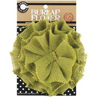 Avocado - Burlap Flower 4.5""