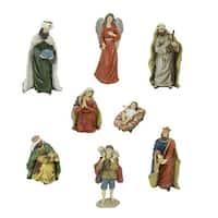 "8-Piece Jewel Tone Inspirational Religious Christmas Nativity Figure Set 12.25"" - multi"