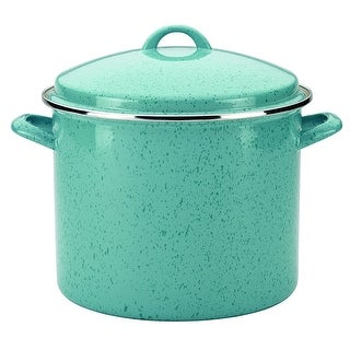 Paula Deen 55433 Signature Enamel on Steel Stockpot 12 Quart Aqua Speckle - aqua speckle