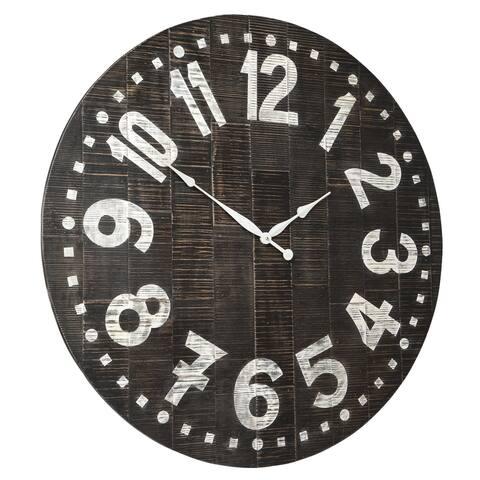 Brone Black/White Wood Vintage Wall Clock - 39' x 39'