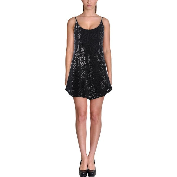Aqua Womens Party Dress Sequin Mini