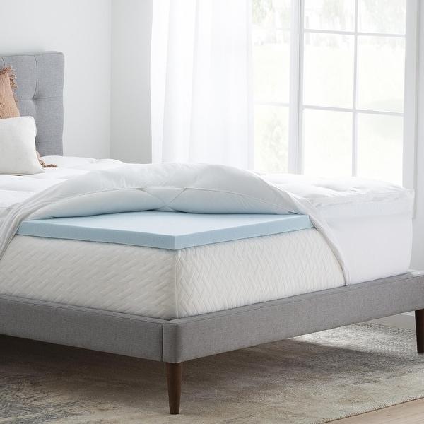 Brookside Pillow Top and 2-inch Gel Memory Foam Mattress Topper - Blue/White