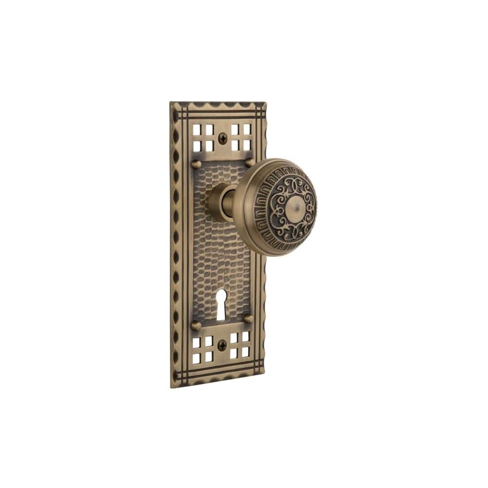 Nostalgic Warehouse CRAEAD_PSG_238_KH  Egg and Dart Solid Brass Passage Knob Set with Craftsman Rose, Keyhole and 2-3/8 Backset (Oil-Rubbed Bronze)