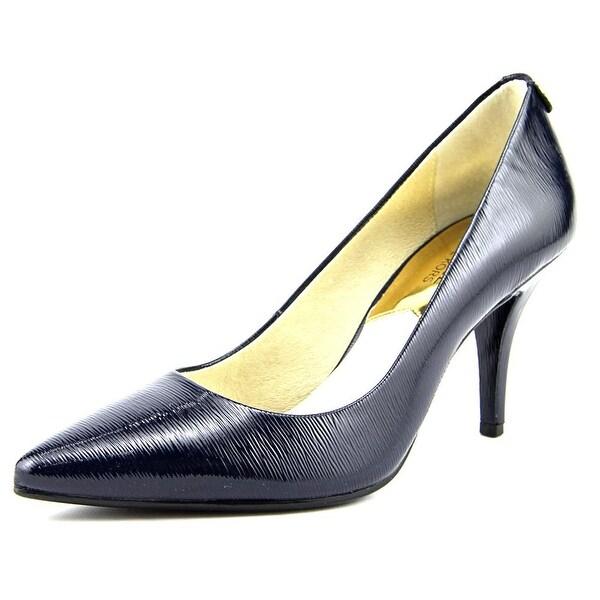 Michael Michael Kors Flex Mid Pump Women Round Toe Patent Leather Blue Heels