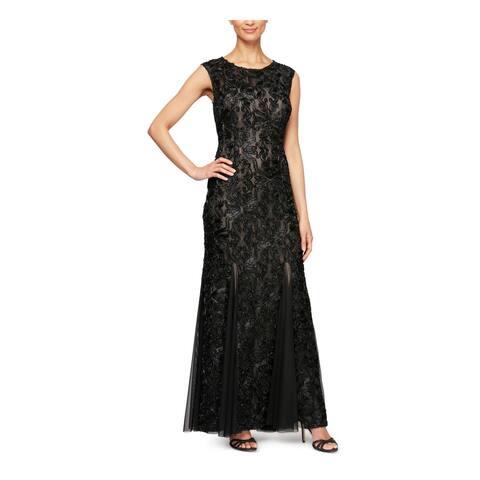 ALEX EVENINGS Black Sleeveless Full-Length Fit + Flare Dress Size 8