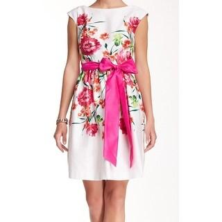 Eliza J NEW Pink Women's Size 14 Belted Floral Sheath Dress