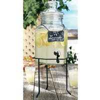 Palais Glassware Clear Glass Octagon Beverage Dispenser - 1.5 Gallon, with Glass Lid and Metal Stand w/ Chalkboard.