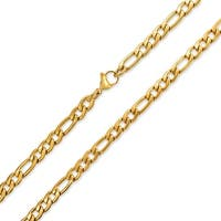Bling Jewelry Mens Gold Plated Stainless Steel Figaro Chain Necklace 7mm