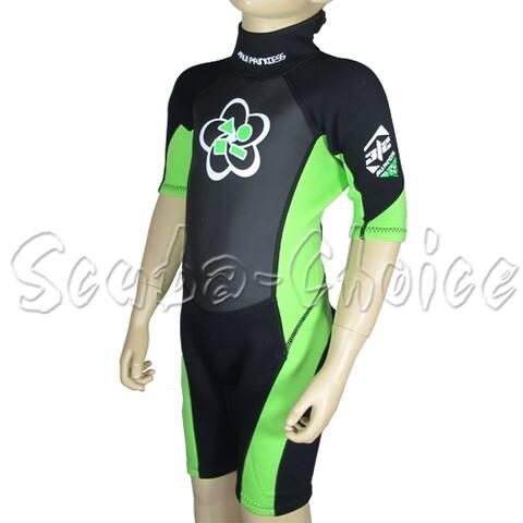 Maui & Sons 3/2 mm Girl's Neoprene Short Sleeve Surfing Suit Black/Lime