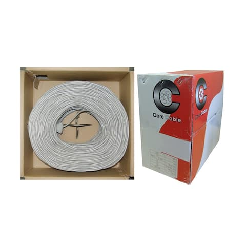Offex Shielded Security/Alarm Wire, Gray, 18/2 (18AWG 2 Conductor), Stranded, CM / Inwall rated, Pullbox, 1000 foot