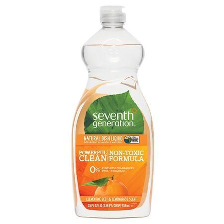 Seventh Generation Natural Dish Liquid - Lemongrass and Clementine Zest - Case of 12 - 25 Fl oz.