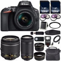 Nikon D5600 DSLR Camera with 18-55mm VR AF-P Lens (Black) International Model + Nikon AF-P DX 70-300mm f/4.5-6.3G ED Lens Bundle