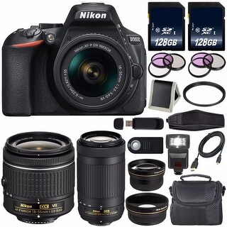 NikonD5600DSLRCamerawith 18-55mmVRAF-PLens(Black)International Model + Nikon AF-P DX 70-300mm f/4.5-6.3G ED Lens Bundle