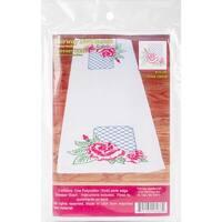 """Stamped Perle Edge Dresser Scarf 15""""X42""""-Rose Lattice"""