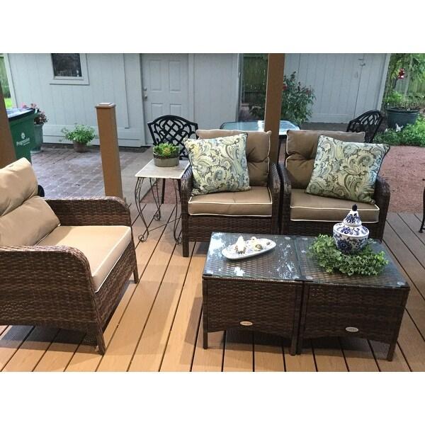 Costway 5 Pcs Rattan Wicker Furniture Set Sofa Ottoman W Brown Cushion Patio Garden Yard On Free Shipping Today 16501359
