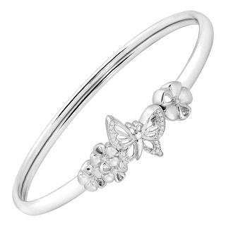 Butterfly & Flowers Bangle Bracelet with Diamonds in Sterling Silver