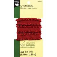 "Red - Dritz Ruffle Woven Elastic 5/8""X1yd"