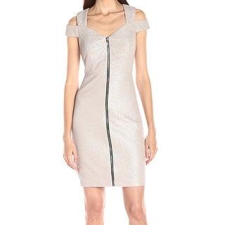 Jax NEW Beige Women Size 8 Metallic Textured Cold-Shoulder Sheath Dress