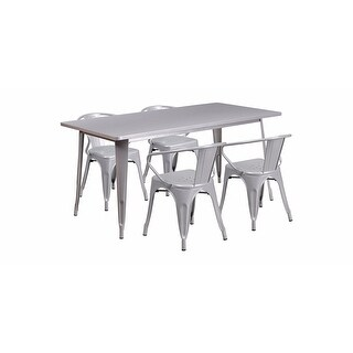 """Offex 31.5"""" x 63"""" Rectangular Silver Metal Indoor Table Set with 4 Arm Chairs [OF-ET-CT005-4-70-SIL-GG]"""