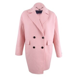 Tommy Hilfiger Women's Double-Breasted Coat (L, Tea Rose) - Tea Rose - L