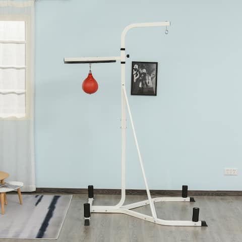 Soozier Free-Standing Speed Bag Platform Punch Bag Station Boxing Stand Heavy Duty Frame White