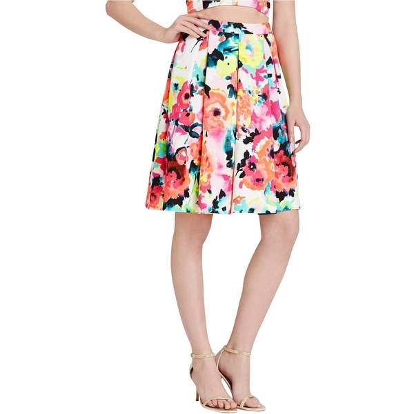 Aqua Womens Pleated Skirt Matte Jersey Floral Print