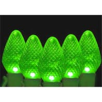 Faceted Transparent Green LED C7 Christmas Lights - Green Wire,