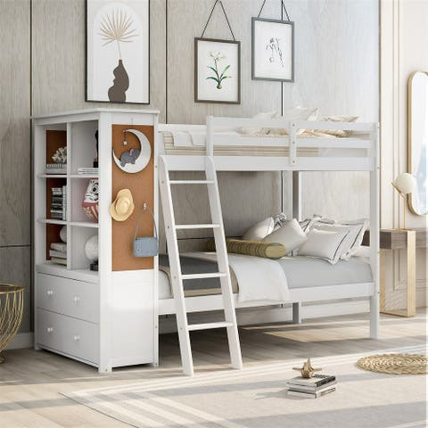 Merax Wood Twin Over Twin Multi-Functional Combination of Bunk Bed and Storage Cabinet with Bookcase and Drawers