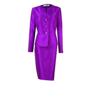 Le Suit Women's Shantung Pleated Collar Skirt Suit