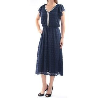 Womens Navy Cap Sleeve Maxi Party Dress Size: 2XS