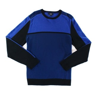 Alfani Navy Blue Mens Size 2XL Ribbed Colorblock Crewneck Sweater