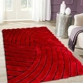 Allstar Red Shaggy Area Rug with 3D Design with Black Lines. Contemporary Formal Casual Hand Tufted (5' x 7') - Thumbnail 0
