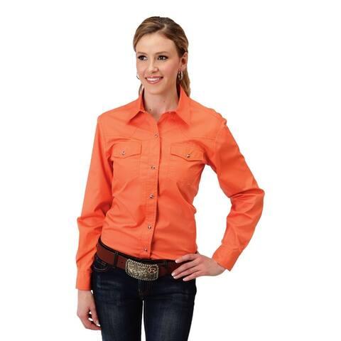 Roper Western Shirt Womens Long Sleeve Snap Orange
