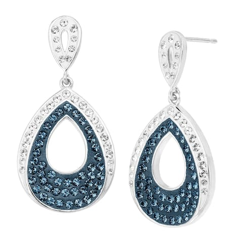 Teardrop Earrings with Blue & White Crystals in Rhodium-Plated Bronze