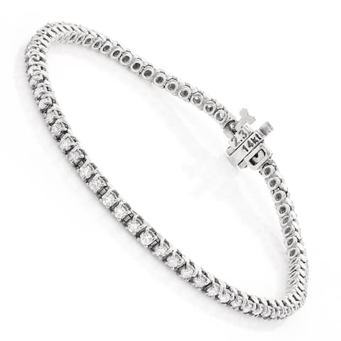 Ladies Round Diamond Tennis Bracelet 2.2ctw in 14k Gold by Luxurman