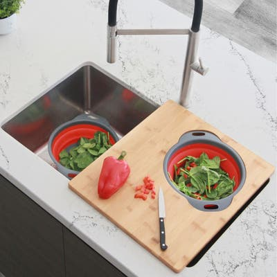 Over The Sink Large Cutting Board With Colander Set A-907