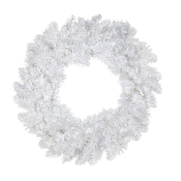 """24"""" Pre-Lit White Artificial Christmas Wreath - Warm Clear LED Lights"""
