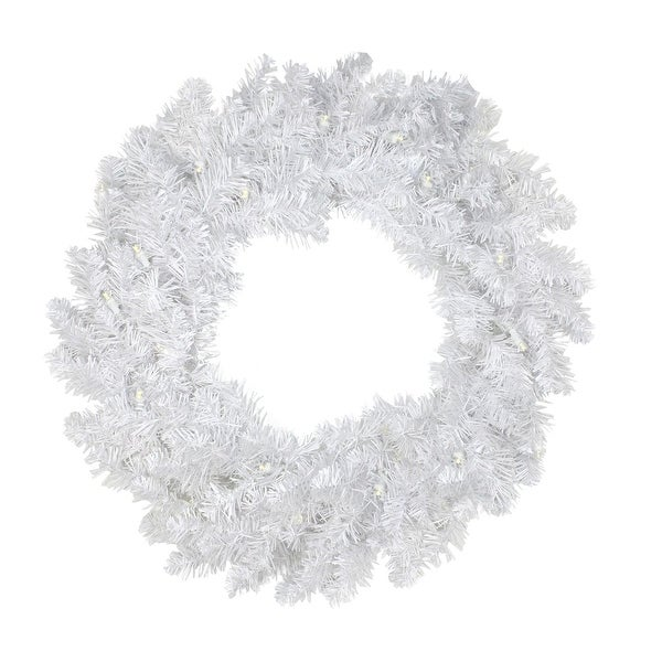 """30"""" Pre-Lit White Artificial Christmas Wreath - Warm Clear LED Lights"""