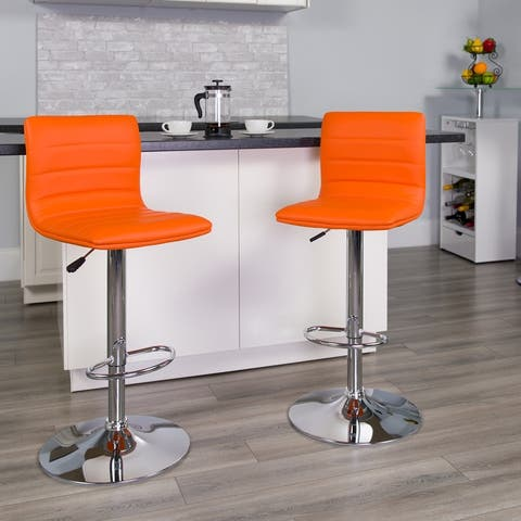 Porch & Den Town Square Adjustable Height Metal Vinyl Upholstery Bar Stool