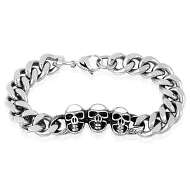 Wheat Chain Skull Trio Stainless Steel Bracelet (13.3 mm) - 9.25 in