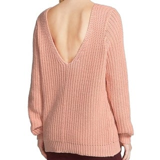Leith NEW Pink Salmon Women's Medium M Shaker Stitch V-Back Sweater