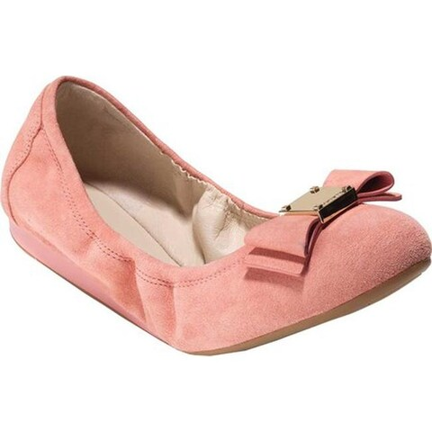 Cole Haan Women's Tali Bow Ballet Flat Coral Almond Suede