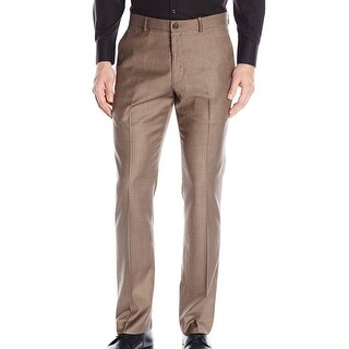 Perry Ellis NEW Brown Men Size 36x32 Heathered Slim-Fit Flat Front Pants