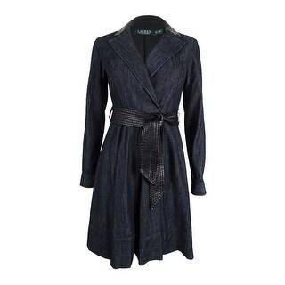 Lauren Ralph Lauren Women's Petite Belted Denim Dress - Blue/Black - 0p