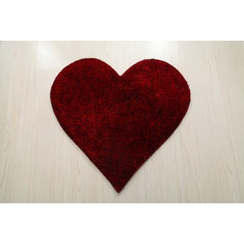 Hearts Collection Hand Woven Shag Area Rug - 2' x 2'