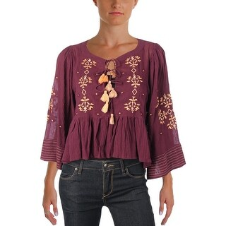 Free People Womens Blouse Embroidered Cropped - m
