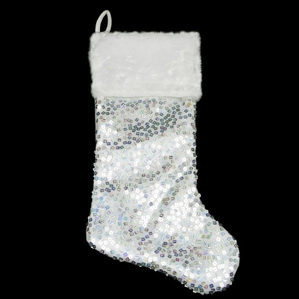 "20"" Shiny Silver Holographic Sequined Christmas Stocking with White Faux Fur Cuff"