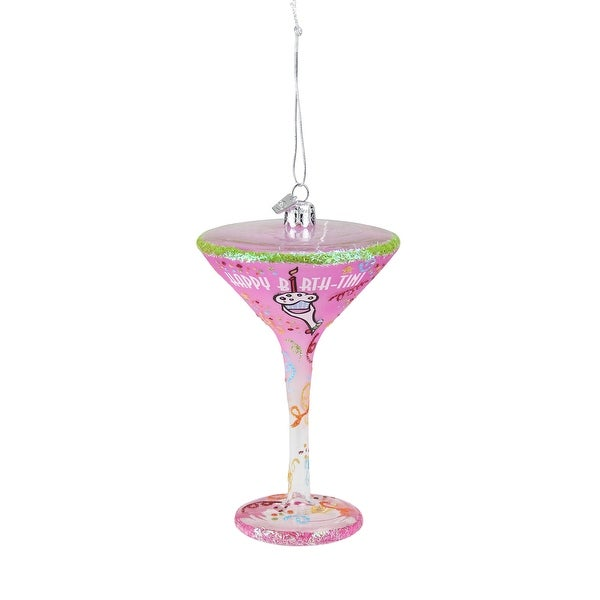 "Happy Hour Blown Glass ""Happy Birth-Tini"" Martini Cocktail Christmas Ornament - PInk"