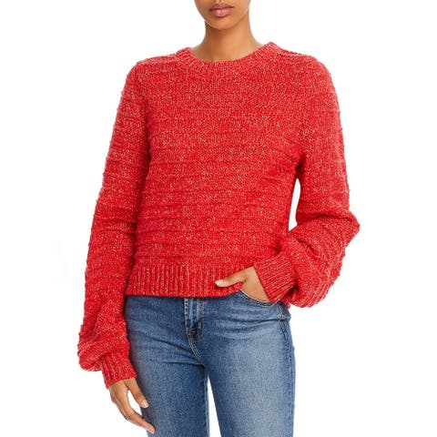 Joie Womens Crop Sweater Ribbed Short - Cherry